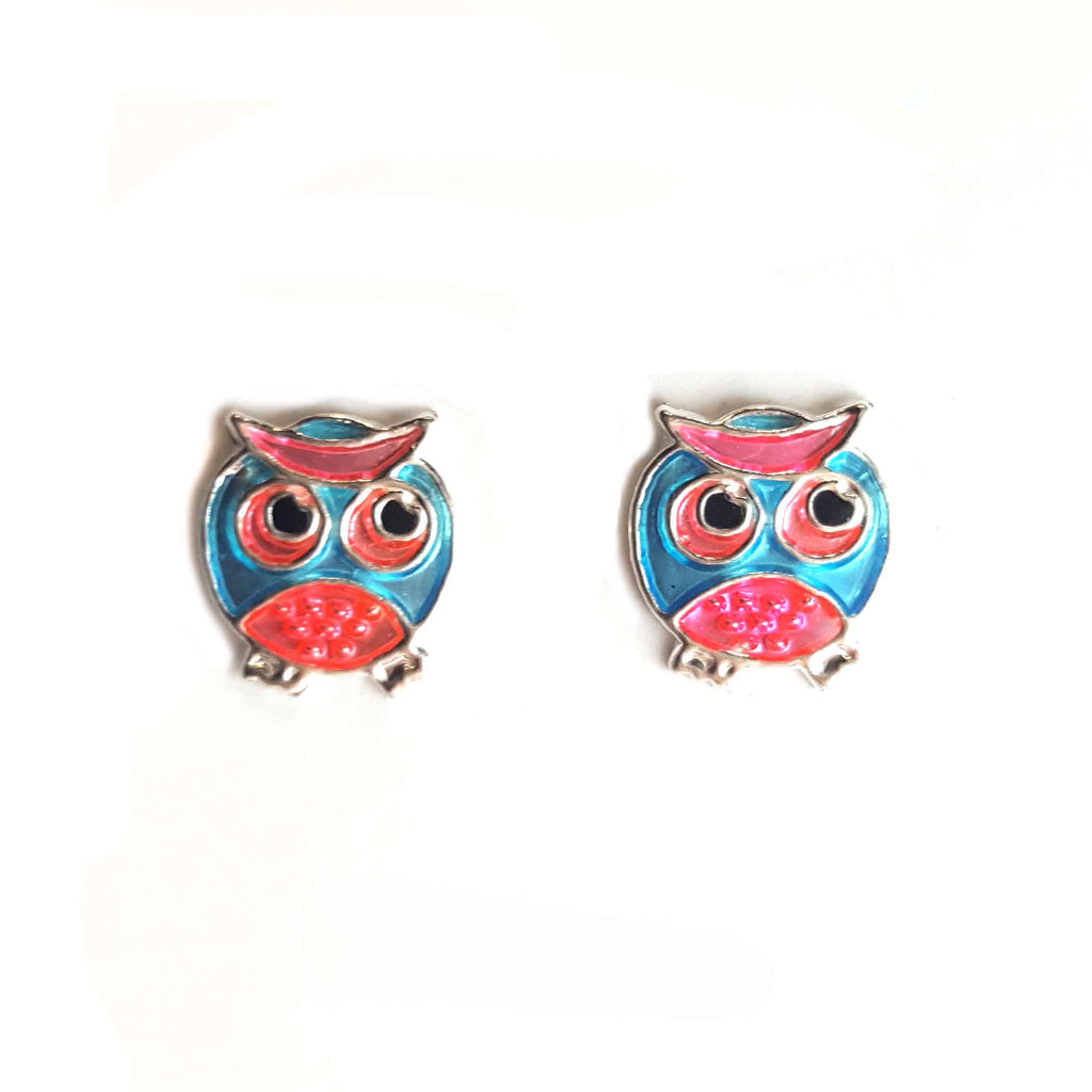 Pink Eyed Owl Studs - Haggled Jewellery
