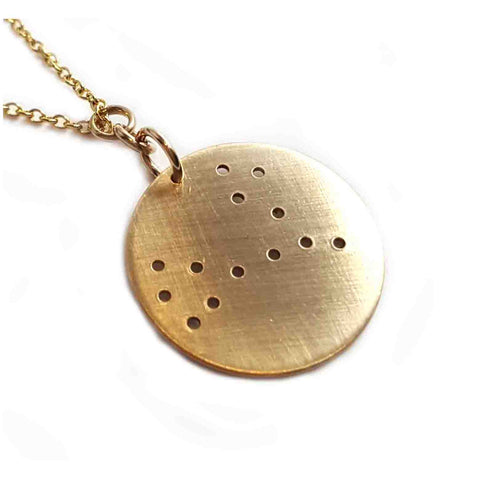 14K Gold Zodiac Necklace - Pisces