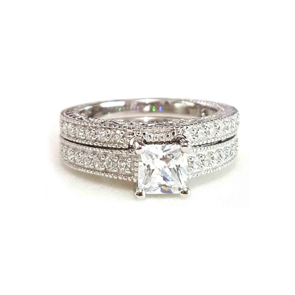 Petite Princess Cut Ring Set