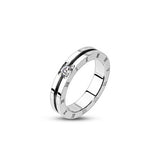 Stainless Steel Groved CZ & Roman Numerals Ring - Haggled Jewellery