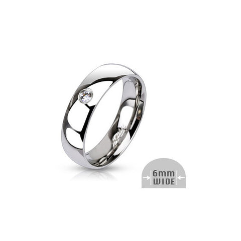 Stainless Steel Single CZ Ring - Haggled Jewellery