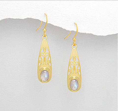 Moonstone Gold Bezel Cleopatra Earrings - Haggled Jewellery