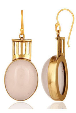 14K Gold Vermeil Rose Quartz Empire Earrings