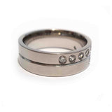Scattered CZ Steel Ring - Haggled Jewellery - 2