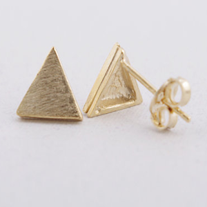 Gold Solid Triangle Earrings - Haggled Jewellery
