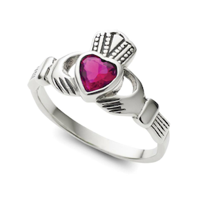 Sterling Silver Amethyst Claddagh Ring - Haggled Jewellery