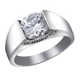 18K White Gold Solitaire Inlay Ring - Haggled Jewellery