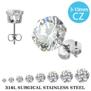 Surgical Stainless Steel CZ Studs - Haggled Jewellery