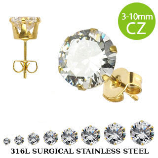 Gold Surgical Stainless Steel CZ Studs - Haggled Jewellery - 1