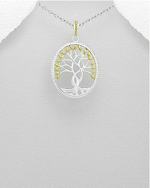 Silver & 14k Gold Tree Pendant - Haggled Jewellery