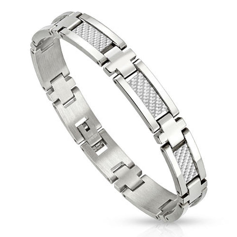 Stainless Steel Bracelet With Silver Inlay - Haggled Jewellery