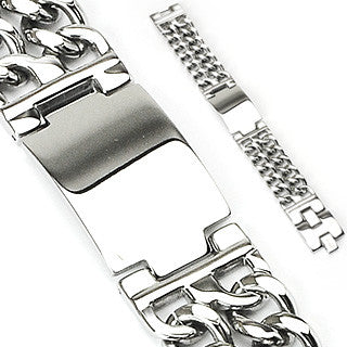 Double Chain Engravable Plate Bracelet - Haggled Jewellery