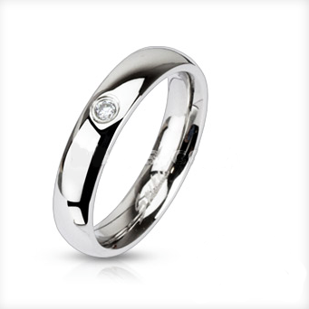 Steel Single CZ Ring Petite - Haggled Jewellery