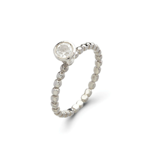 Sterling Silver Clear CZ Stack Ring - Haggled Jewellery