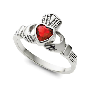 Sterling Silver Garnet Claddagh Ring - Haggled Jewellery
