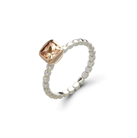 Sterling Silver & Rose Gold Vermeil Champagne CZ Stack Ring - Haggled Jewellery