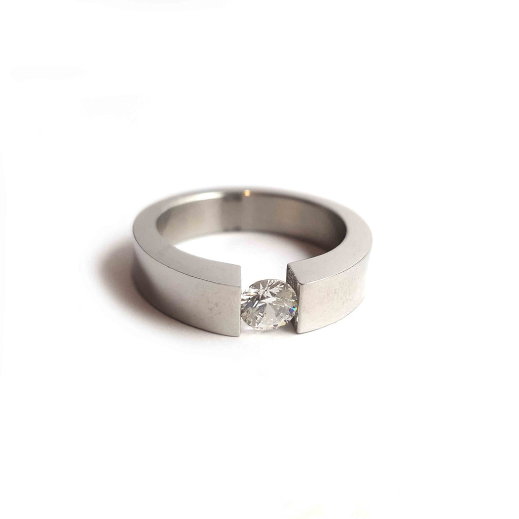 Suspended CZ Steel Ring - Haggled Jewellery - 1