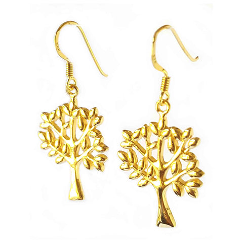 Gold Vermeil Tree of Life Dangle Earrings