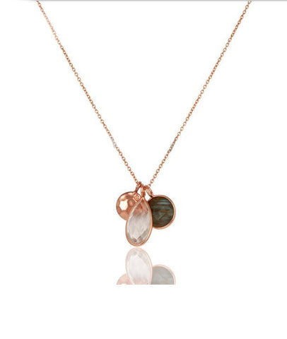 14K Rose Gold Vermeil Trio Pendant Necklace