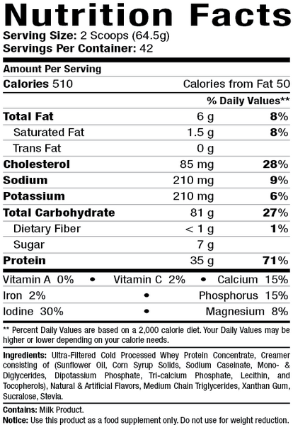 Alkaline Mega Mass Nutritional Profile