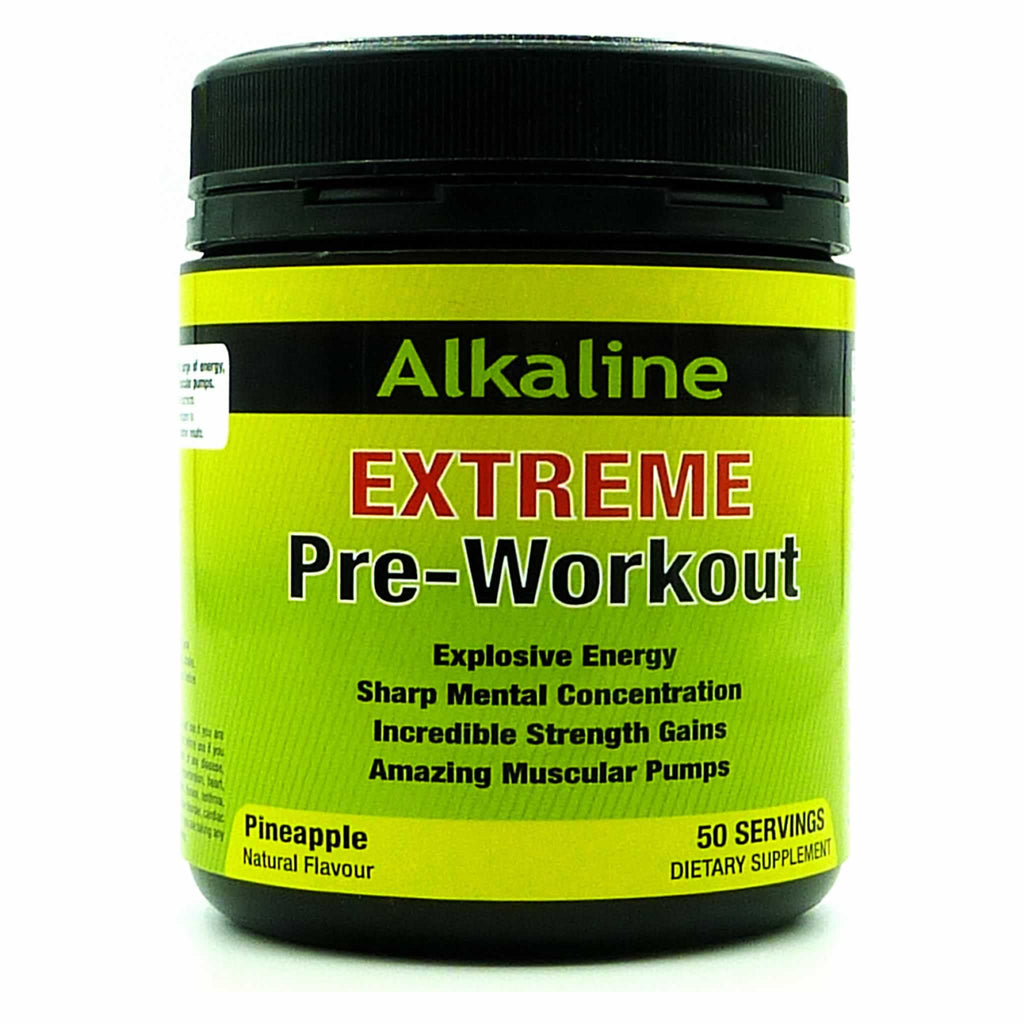 Alkaline Extreme Pre-workout Supplement is the best pre-workout for Explosive Energy, Enhanced Focus, Incredible Gains & Amazing Pumps.  Fruit Punch, Pineapple, Blue Raspberry & Peach.