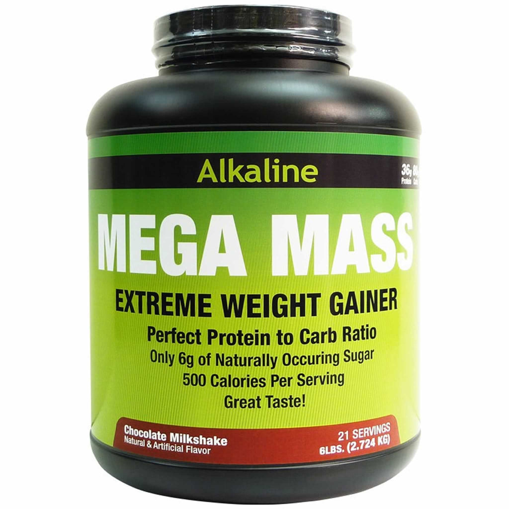 Alkaline Mega Mass Gainer contains the perfect scientific ratio of protein (35g) to carbohydrates (80g). Alkaline Mega Mass Gainer contains only 7 grams of naturally occurring sugars per serving and includes MCT oil which is used as a direct energy source. This mass gainer is made with natural ingredients and is focuss