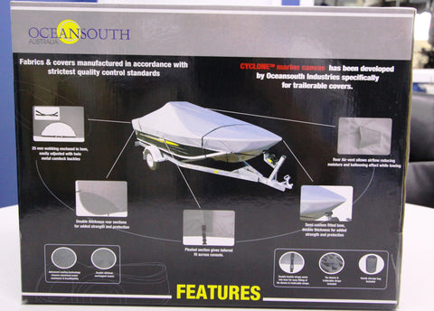 OceanSouth Side Console Boat Cover - 4.3-4.5m