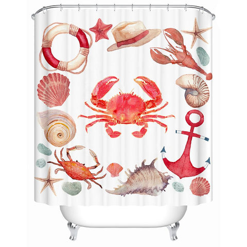 The Red Crab and Friends Shower Curtain-Shower Curtain-Australian Coastal Passion