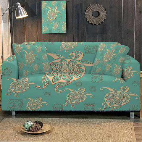 Coastal Sofa Slipcover-Turtles in Turquoise Couch Cover-Coastal Passion