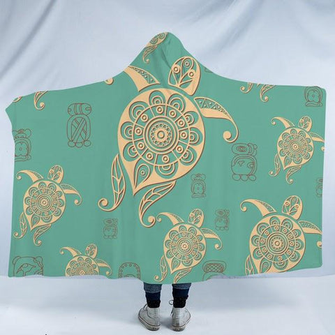 Turtles in Turquoise Cozy Hooded Blanket-Fleece Hooded Blanket-Australian Coastal Passion