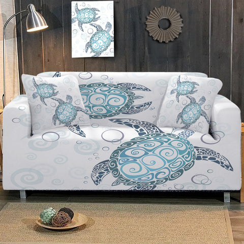 Coastal Sofa Slipcover-The Sea Turtle Twist Couch Cover-Coastal Passion