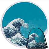The Great Wave Round Beach Towel-Australian Coastal Passion