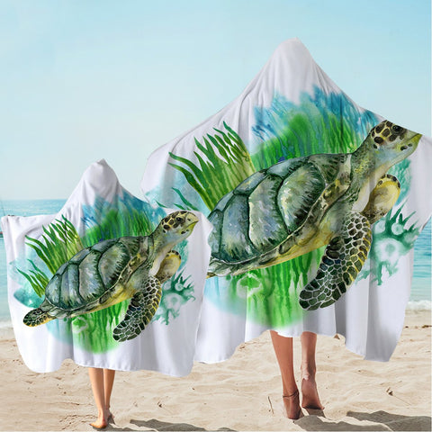 Sea Turtle Greens Hooded Towel