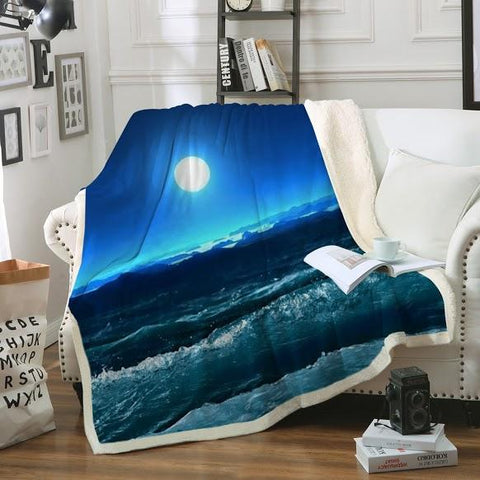 Moonlight Magic Soft Sherpa Blanket-Fleece Sherpa Blanket-Australian Coastal Passion