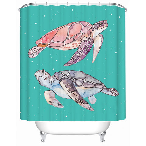 Sea Turtles in Green Shower Curtain-🇦🇺 Australian Coastal Passion