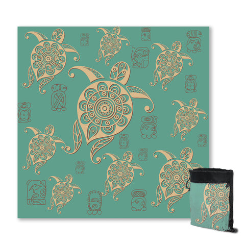 Turtles in Turquoise Sand Free Towel