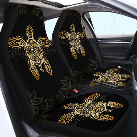 The Golden Sea Turtle Car Seat Cover