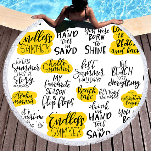 Summer Sayings Fun Beach Towel-Round Beach Towel-Adult: 150 cm diameter-Australian Coastal Passion
