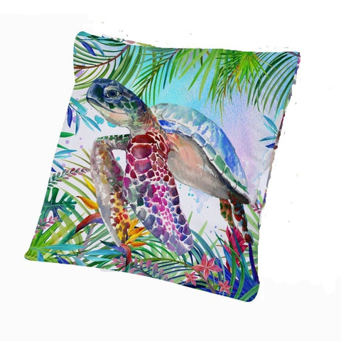 Coastal Pillow Cover-Tropical Sea Turtle Pillow Cover-Coastal Passion