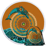Coastal Round Beach Towel-Dolphin Mandala Towel + Backpack-Coastal Passion