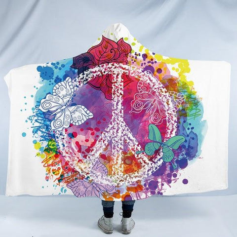 Peace and Loaf Cozy Hooded Blanket-Fleece Hooded Blanket-Australian Coastal Passion