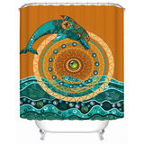 Coastal Shower Curtain-Dolphin Mandala Shower Curtain-Coastal Passion