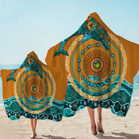 Coastal Hooded Towel-Dolphin Mandala Hooded Towel-Coastal Passion