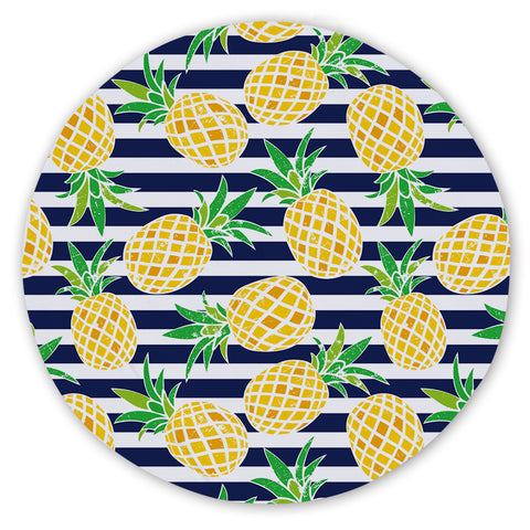 Coastal Sand Free Beach Towel-Nautical Pineapple Round Sand-Free Towel-Coastal Passion