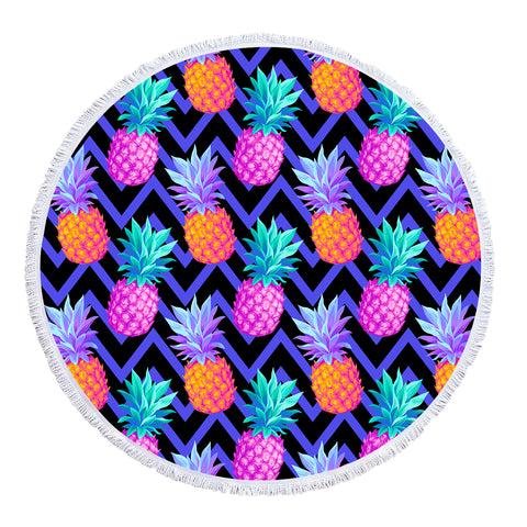 Coastal Round Beach Towel-Eclectic Pineapple Round Beach Towel-Coastal Passion