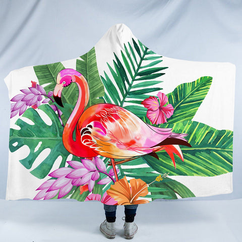 Tropical Flamingo Cozy Hooded Blanket-Fleece Hooded Blanket-Australian Coastal Passion