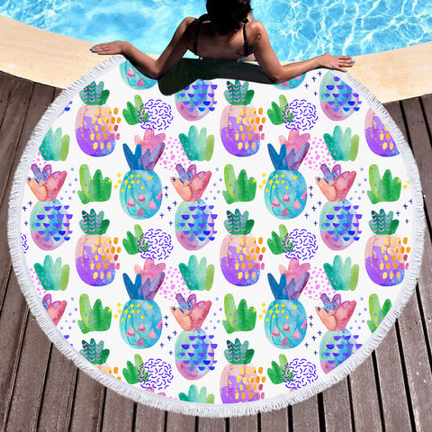 Coastal Round Beach Towel-Pineapple Passion Round Beach Towel-Coastal Passion