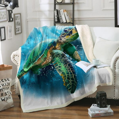 Coastal Fleece Sherpa Blanket-Queen of the Ocean Soft Sherpa Blanket-Coastal Passion