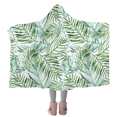 Tropical Palm Leaves Cozy Hooded Blanket-Coastal Passion