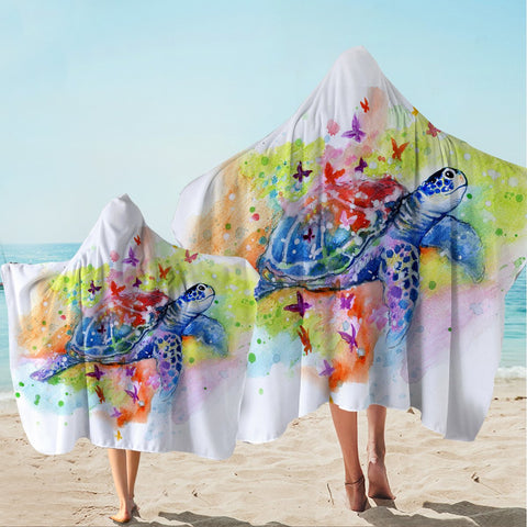 Sea Turtle Splash Hooded Towel-Australian Coastal Passion